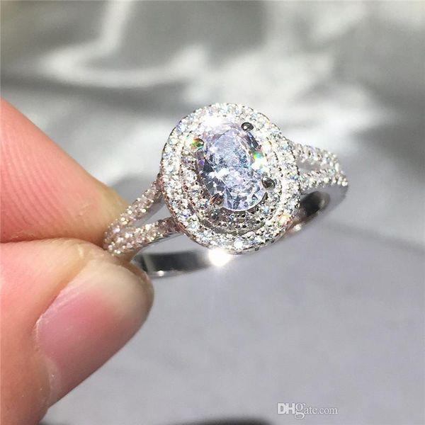 Heißer Verkauf Echt 925 Sterling Silber Hochzeit Ring Finger Luxus Kissen geschnitten SONA diamant Schmuck Für Frauen Verlobungsringe Anel