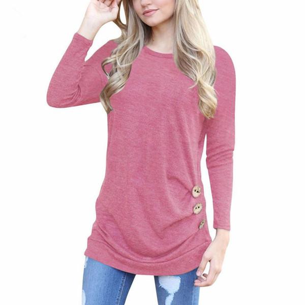 2019 Tshirt Women Solid O-neck Shirt Long Sleeve Botton Tee Casual High coat female T-shirt for women's shirt women's tops