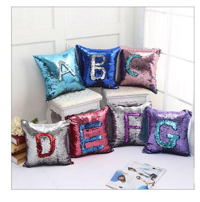 Gradient Pillow Case Sequin Cover Mermaid Cushion Cover Insert Magic Double  Cushion Paillette Cover Sofa Wedding Bed Decor