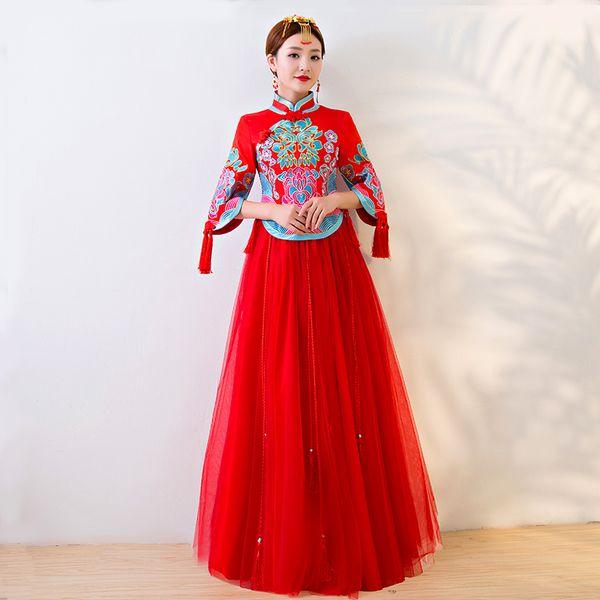 cheongsam mariage robe traditionnelle chinoise mariée ancienne robe de costume de mariage vêtements femmes broderie phénix rouge Qipao