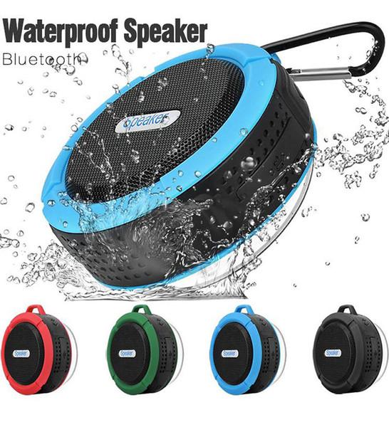 Wasserdichter Bluetooth-Lautsprecher Duschlautsprecher C6 mit starkem Treiber, langer Akkulaufzeit, Mikrofon und abnehmbarer Saugnapf-Einzelverpackung