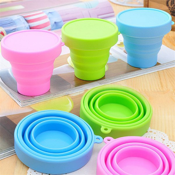 best selling Outdoor Travel Silicone Retractable Folding Water Cup Candy Color telescopic Collapsible Foldable Coffe Mugs Tooth Mugs with Cover Lids Hot