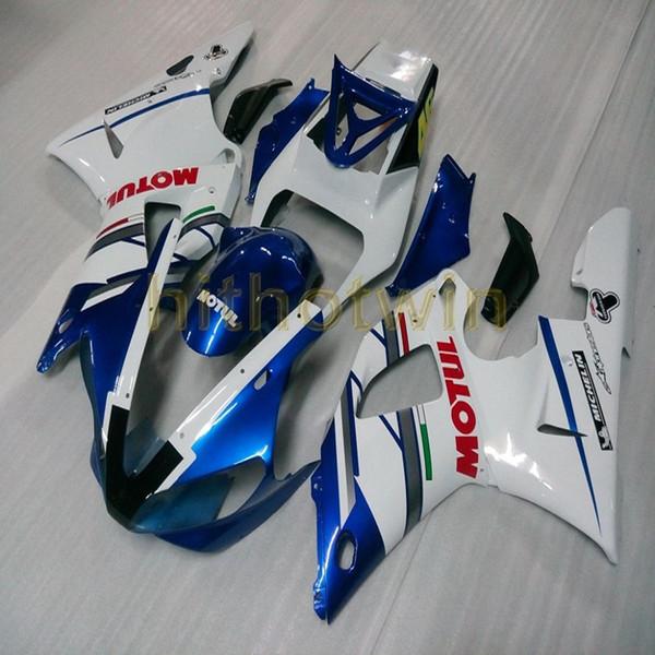 23Colors! Bolts + kit de carrocería de moto blanco azul personalizado para Yamaha YZF-R1 98-99 YZF R1 1998-1999 ABS Fairing de plástico