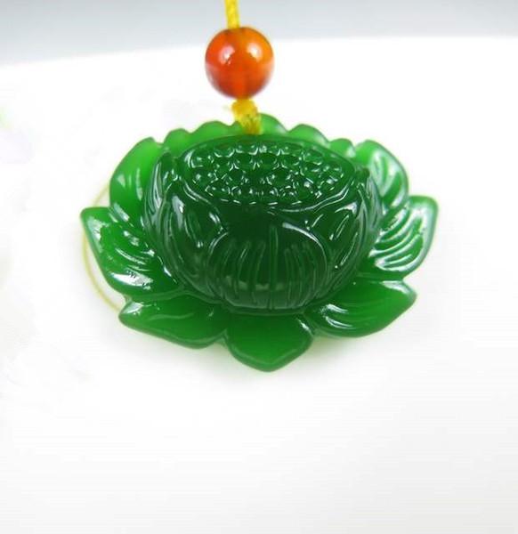 Collana verde naturale della giada del fiore di modo del pendente del loto della collana del loto per i monili delle donne fini