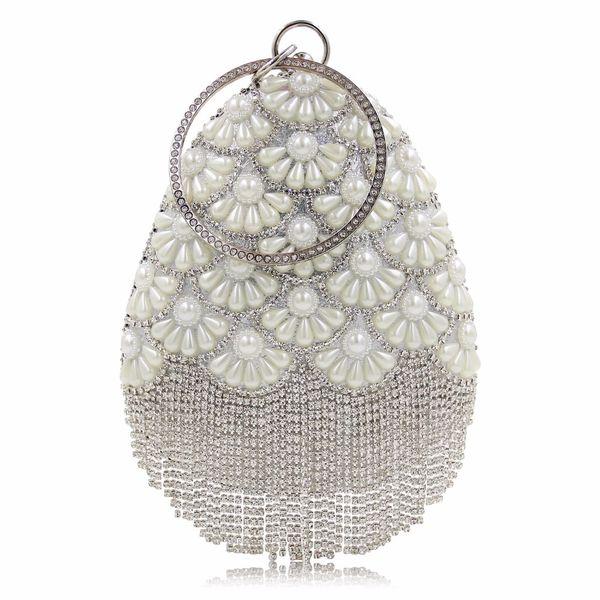 Beaded Tassel Women Evening Bags Metal Golden Pearl Flower Handmade Style Diamonds Clutches Phone Fashion Wedding Party Purse
