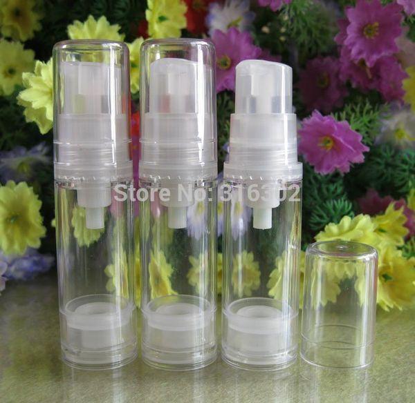 300pcs X 5ml Clear Empty Airless Lotion Pump Bottle With Transparent Pump Clear cap bottle