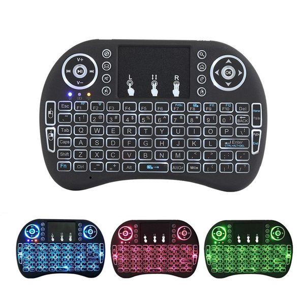 Mini teclado i8 retroiluminado 2.4G inalámbrico Fly Air Mouse recargable con retroiluminación Touchpad Controlers remotos para MXQ pro X96 TV Box
