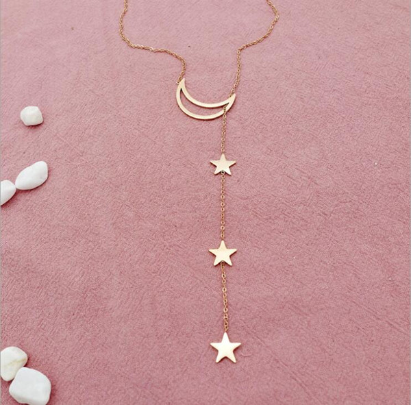 2018 High Quality Titanium Steel Tiny Moon and Star Necklace Women Jewelry Latest Fashion Nickel Free