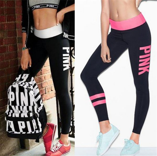 4b9af996cf035 Pink Letter Print Leggings Women love pink Fitness Sport pants Workout Yoga  Jogging Tights skinny pant Trousers Capris Victoria Sweatpants