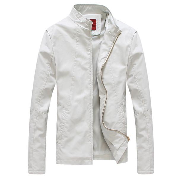 Wholesale- Spring New Men Faux Leather Jacket Korean Slim Fit Stand Collar Casual Men Coat Motorcycle Jacket Veste Homme Black/White/Red