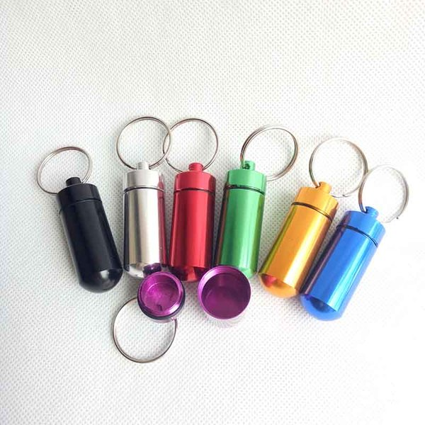Round Aluminum Waterproof Pill case Box Stash Bottle Holder Jewelry Container Keyring keychain Jar 48mm/52mm 7 colors 3 sizes choose