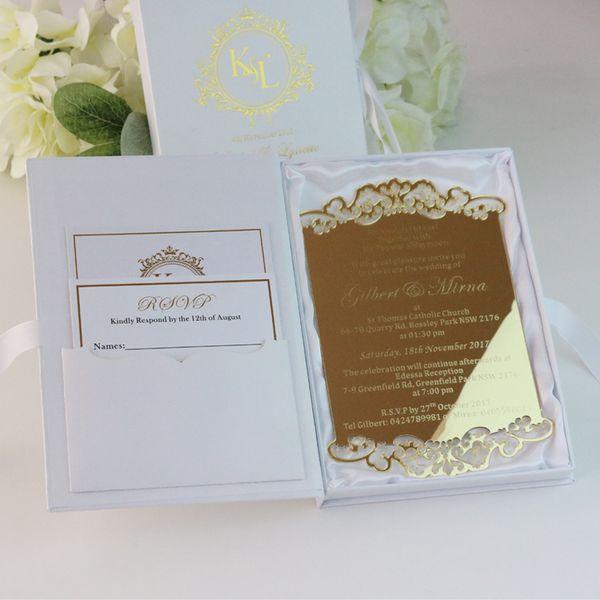 Compre 50 Tarjetas De Invitación De Boda De Acrílico De Oro Personalizadas Para Invitaciones De Fiesta Con Cajas Frustradas Rsvp Que Deseen Tarjetas