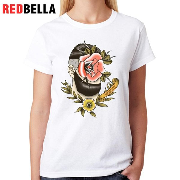 Women's Tee Redbella Punk Rock Women Clothes 2017 Hiphop Traditional Tattoo Art Rose Flower Graphic Tee Shirt Printing Cotton Ropa De Mujer