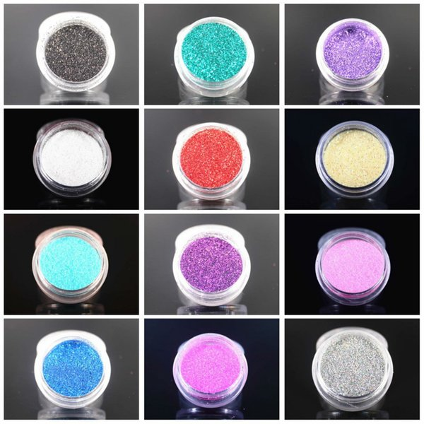 2018 NEW 12 Colors Glitter Nail Art Dust Tool Kit Acrylic Gem Polish Nail Tools 3D Art Decorations Glitter Powder