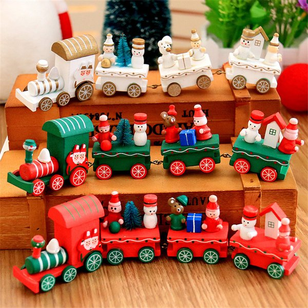 Merry Christmas Mini Train toy Xmas Kids gifts Wooden Little Trains Set table decorative room Party Ornaments Decorations Festival Trains