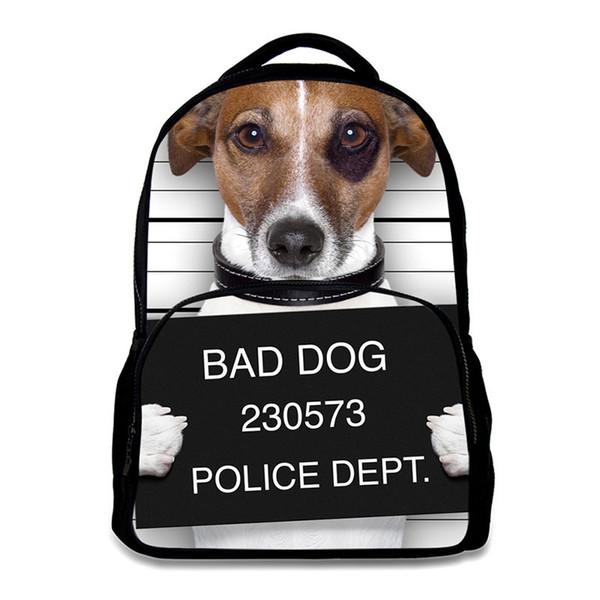 Männer Rucksack Schultaschen für Teenager Casual Reisetaschen PU Filz Stoff Tier Hund Druck 15,6 Zoll Laptop Rucksack Rugzak