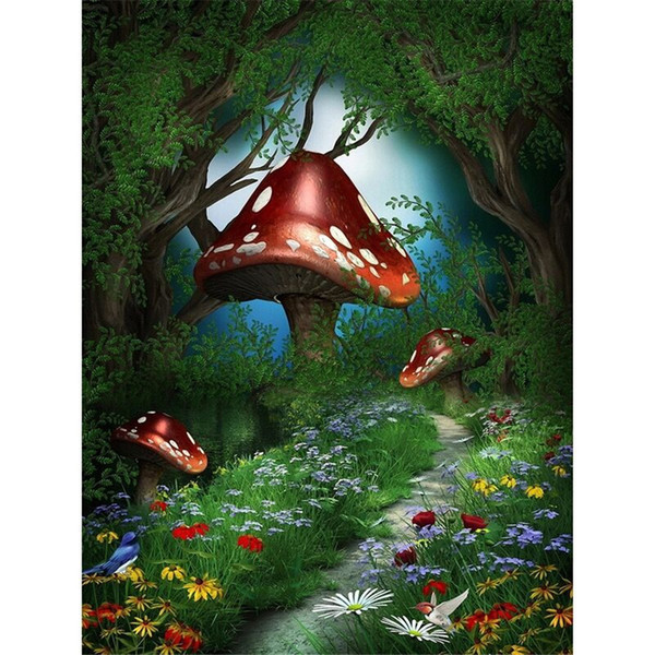 Forest Fairy Land Spring Scenic Photo Backdrop Printed Mushrooms Flowers Birds Trees Kids Children Birthday Party Photography Backgrounds