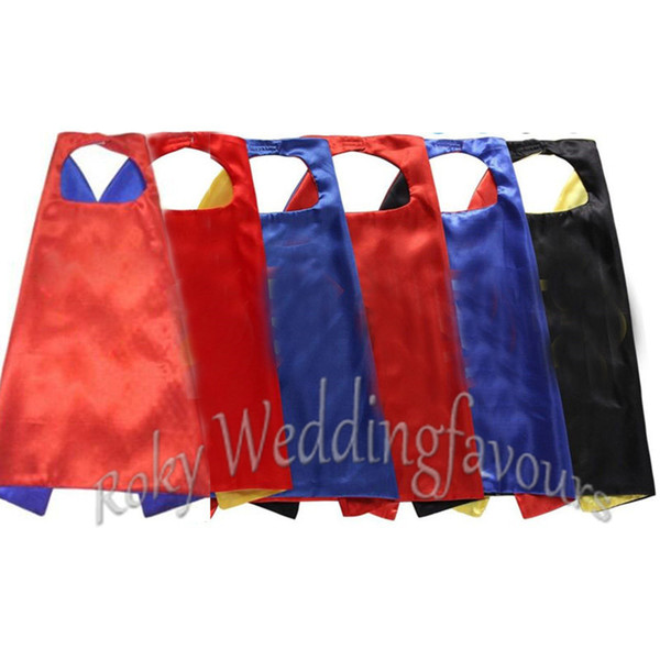 top popular Free Shipping 50sets Mix Styles 110*70cm Double Side Satin Big Kid Capes Adult Cloaks Birthday Graduation Party Suplplies Event Gifts 2021