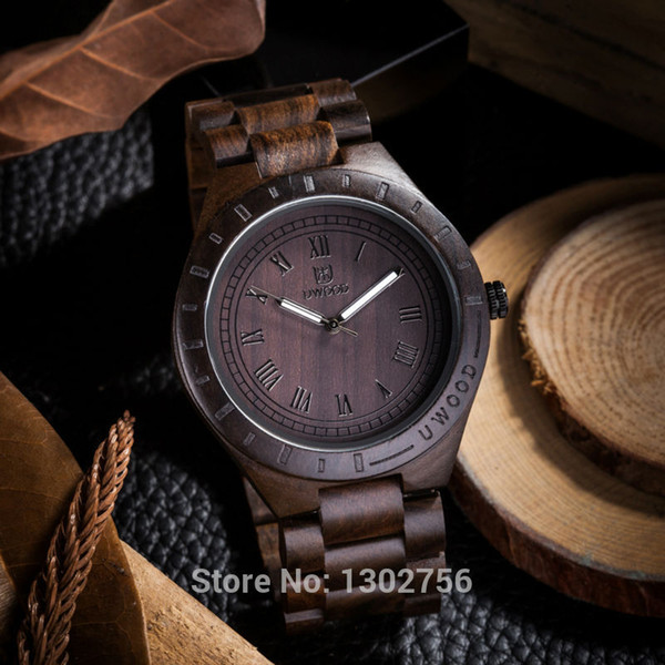 2018 new natural black sandal wood analog watch uwood japan miyota quartz movement wooden watches dress wristwatch for unisex, Slivery;brown