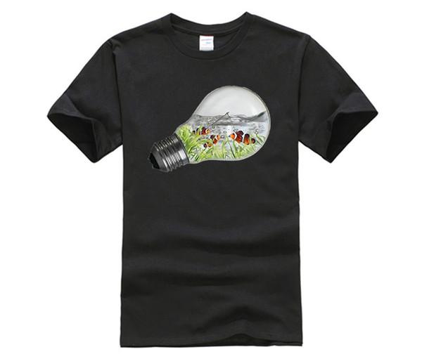 2017 New Brand Clothing Electric Fishbowl T Shirts Men Hot Selling O-neck Fish hd T-Shirt XXXL Short Sleeve Tops Tees