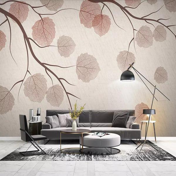 Acheter 3d Fond D écran De Mur Papier Simple Salon Moderne Peintures Murales Vidéo Couvrant La Chambre Art Papier Peint Nordique Feuilles De 25 13 Du