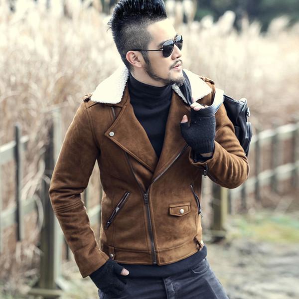 Chaquetas de cuero de invierno Hombres Abrigos de piel sintética Chaqueta de cuero de los hombres Chaqueta de cuero de la motocicleta ocasional Espesar Abrigo Para Hombre 2017