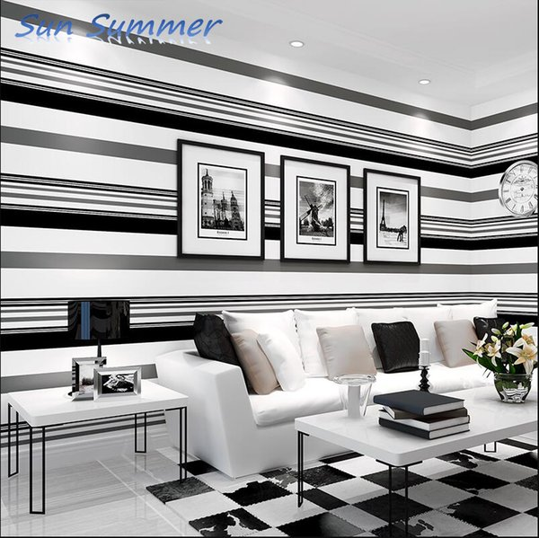 tv background wall paper and living room modern minimalist nonwoven atmosphere fashion black and white gray striped wallpaper screensavers wallpapers