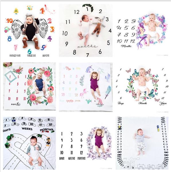 29 tipos recién nacido bebé hito mantas fotografía fondo apoyos foto del bebé telones carta infantil flor unicornio mantas BHBZ12