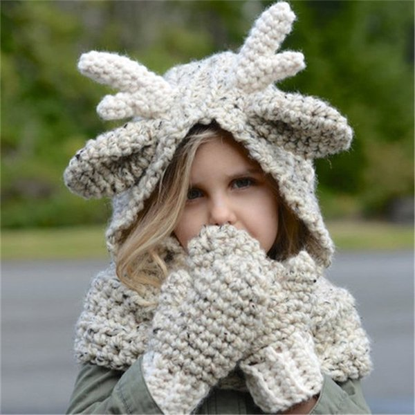 Fashion Knitted Kids Winter Elk Hat Scarf Gloves 3 in 1 Set Baby Boy Girls Knitting Caps Christmas Elk Deer Crocket Xmas Eve Gift 3D Cartoon