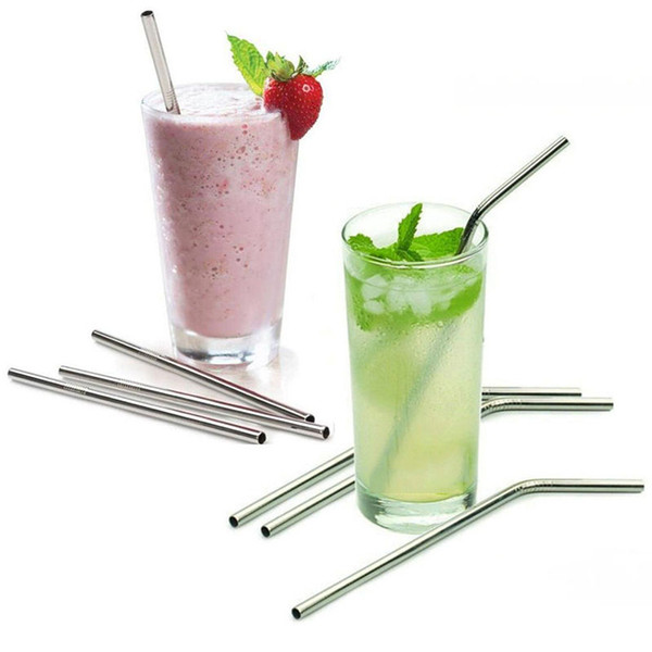 best selling 8 9 10 Inch Straight And Bent Stainless Steel Straw Reusable Drinking Straws Eco Friendly Drinking Tool For Bar Party