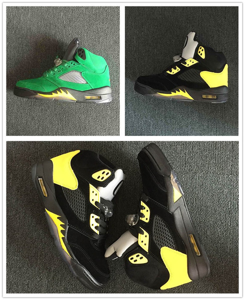 2018 New 5 Oregon Ducks PE men basketball shoes JumpDucks Apple Green/Yellow Strike-Black sports trainers mens fashion Shoe 454803-535