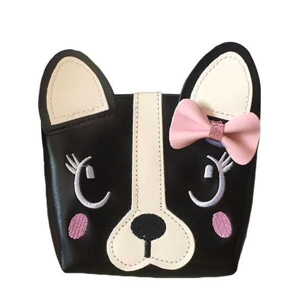 Children Handbag For Girl Bowknot Dog Shoulder Bag Baby Purse PU Leather Messenger Bag Kid Crossbody Wallet