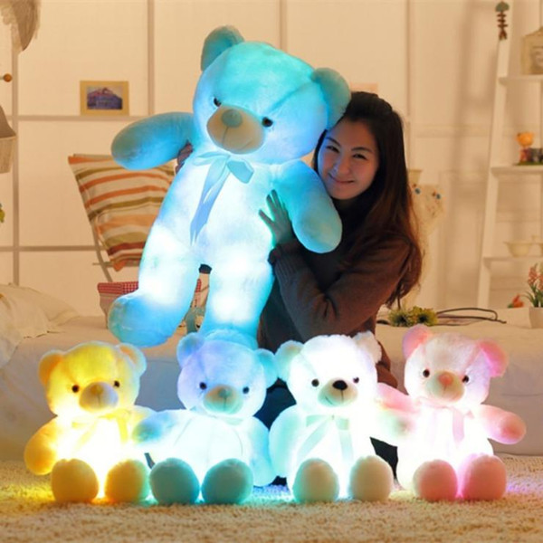 top popular 30cm 50cm Colorful Glowing Teddy Bear Luminous Plush Toys Kawaii Light Up LED Teddy Bear Stuffed Doll Kids Christmas Toys 2020