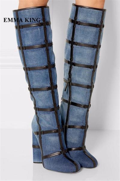 EMMA KING Stylish Navy Blue Denim Long Boots Women Fashion Cross Knot Chunky Heels Round Toe Casual Dress Cowboy Boots For Women