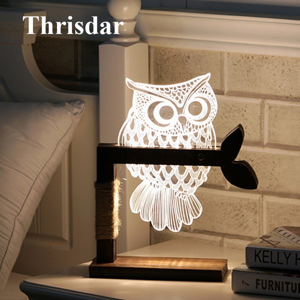 Thrisdar Dimmable Acrylic 3D Owl LED Night Light 3D Vision Stereo Bedroom Bedside Table Lamps Best Christmas Birthday Gift