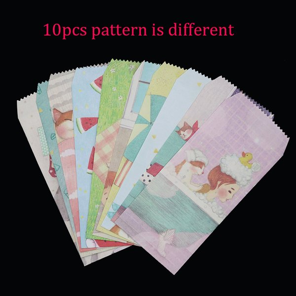10pc Creative Envelope Cat Life Gift Korea Stationery Cute Colored Paper Envelope 10 Pieces Pattern Different Colors