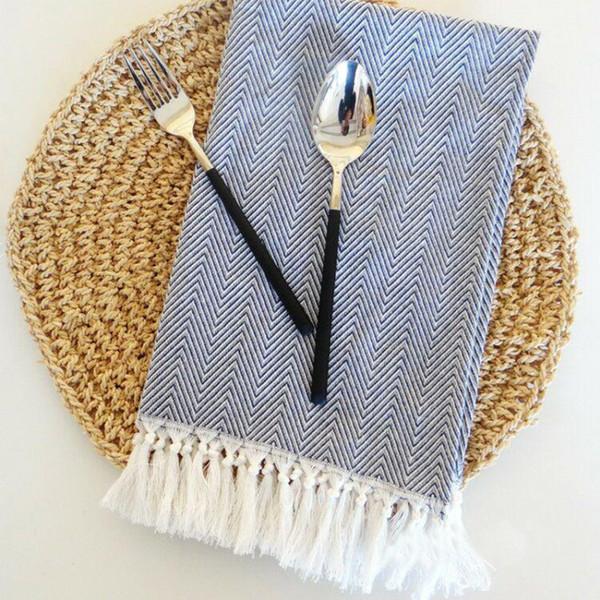 top popular Hot Sale 7pcs lot Table Fabric Napkins Tassel Cotton Wedding Gray Kitchen Napkins 40x60cm Tea Towels Decor 2021