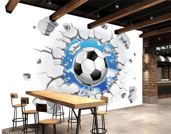 Compre Custom 3d Mural Wallpaper Modern Simple Football Broken Wall Photo Murales De Pared Niños Dormitorio Sala De Estar Decoración Creativa