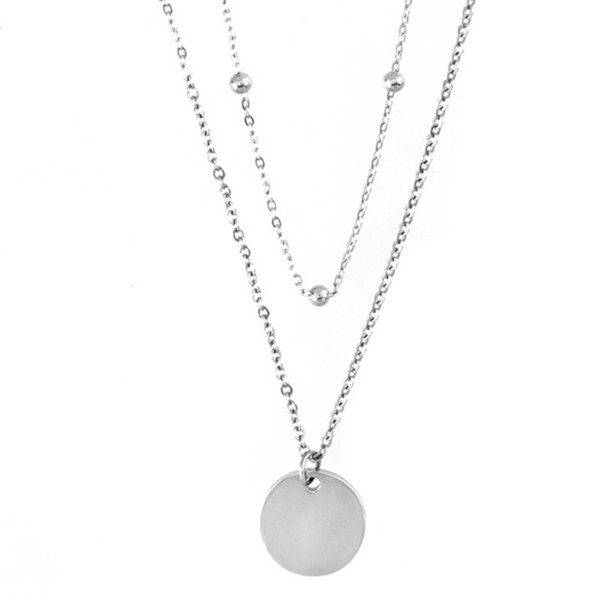 afd7806dccaa9 Wholesale Stainless Steel Double Layer Disc Pendant Space Ball Chain  Clavicle Choker Necklace Collar Bijoux Women Jewelry Name Pendant Necklace  ...