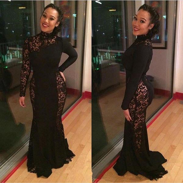 Schwarze Spitze Mermiad Abendkleider 2018 Hoher Kragen Lange Ärmel Mutter der Braut Kleid Reißverschluss Zurück Trompete Abschlussball Formale Kleider