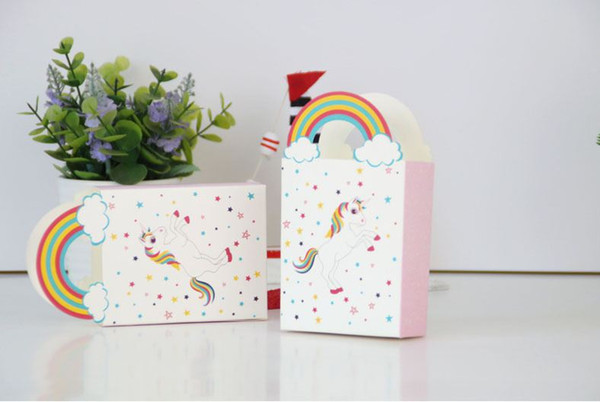 White Wedding unicorn candy bag 50pcs Colorful star candy bag with rainbow handle Gift paper Wedding Party favors Supplies