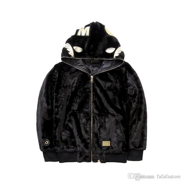 A Baignade Ape Bap X Shark Zip Up Sweat à capuche Noir Vêtements en coton rembourré Manteau en laine Wappen Wool Hoodies Sweat-shirts