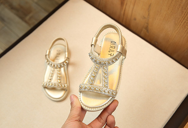 2019 New Flowers Children Summer Baby Toddler Little Girls Sandals Pink Gold Silver Princess Dress Shoes For Kids Girls Rhinestone Sandals