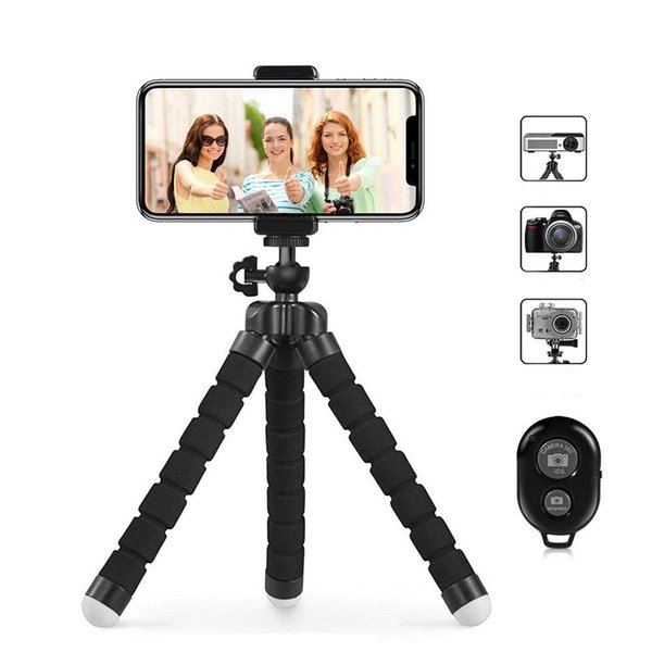 Trípode para teléfono Flexible y portátil Trípode para teléfono celular con obturador remoto y clip universal para la cámara del teléfono iPhone