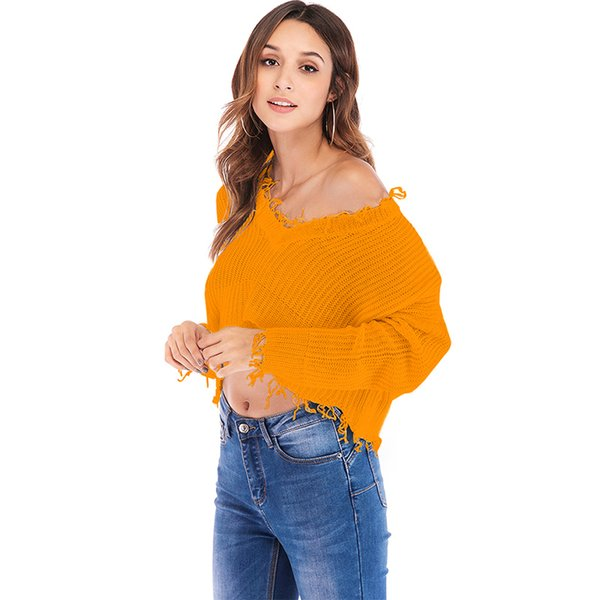AS WOMEN LADIES OFF THE SHOULDER KNITTED V NECK CROP JUMPER TOP KNITWEAR