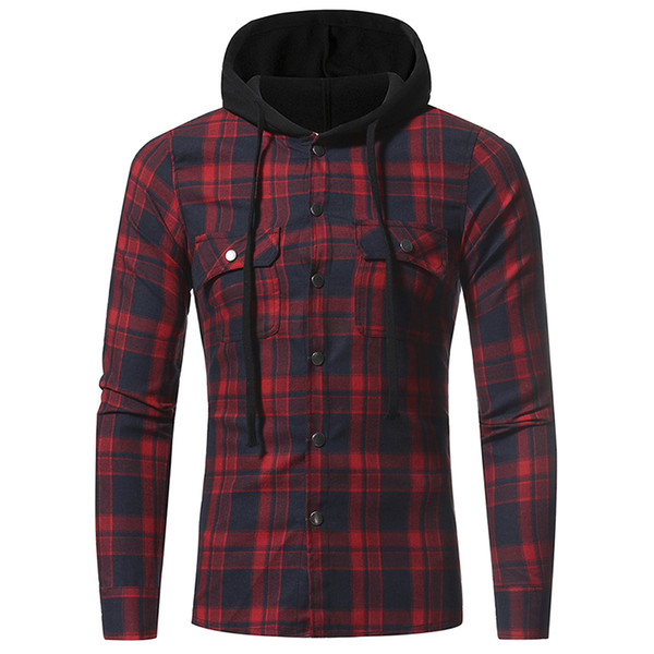Men Plaid Shirts 2018 New Fashion Korean Wild Long Sleeve Flannel Hooded Shirt Casual Slim Fit Plus Size Cotton Men Clothes Red Y1892102