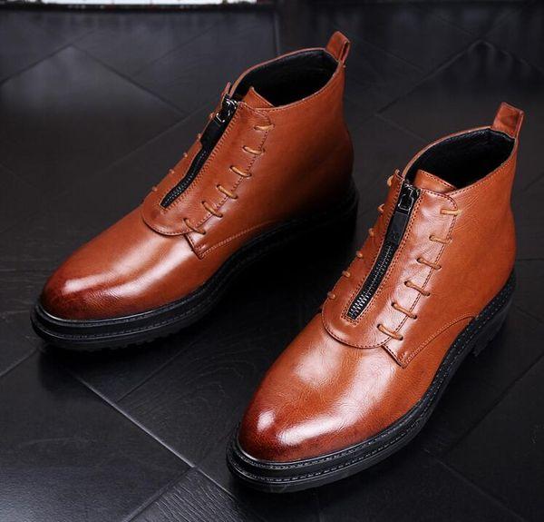 Bottes en cuir pointues pour hommes en cuir de style coréen Bottes Martin bottes de bottes de cowboy britanniques a40