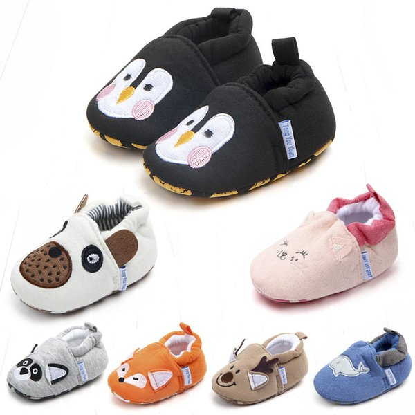 New Cute Cartoon Baby Shoes Boys Girls Christmas Deer Shoes Infant Kids Penguin First Walkers Newborn Toddlers Non-Slip