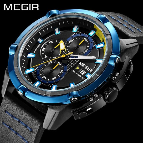 MEGIR New Style Watchs Luxury For Men Top Brand Quartz Men's Wrist Watches Fashion Leather Sport Chrongraph Blue Watch Men Boys