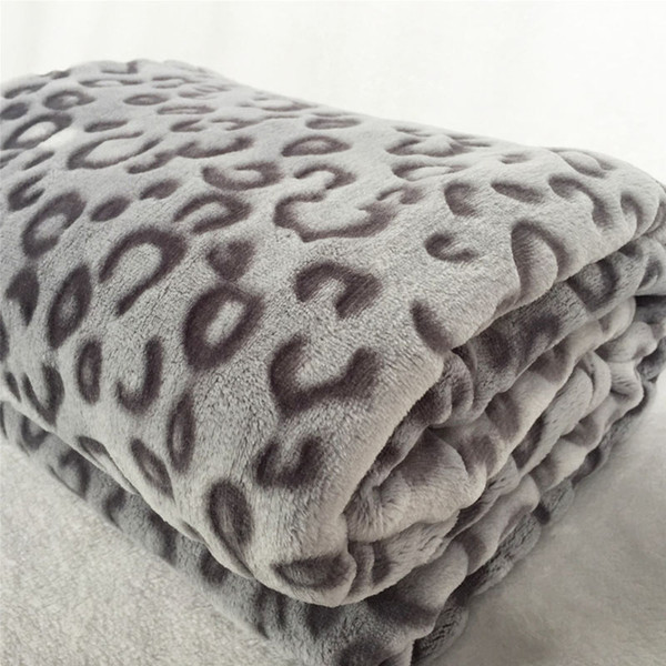 Quality Fashion Modern 3D Leopard Print Plush Faux Mink Flannel Fleece Soft Blanket Throws Plane/Air/Sofa/Office/Bed Cover Gray